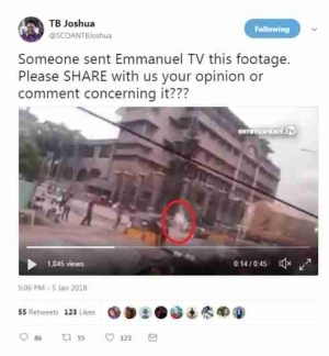 """Video Of """"Strange Ghost"""" At Entrance Of Synagogue Church Sent To TB Joshua"""